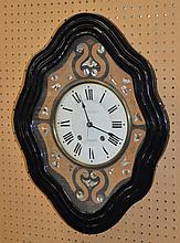 French Wall Clock By Barbot, 19th/20th c, With A Key Wound Mother of Pearl Inset Dial and Molded Framed Case, Height: 20