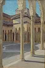 Anna Richards Brewster (American, 1870-1952), oil on board, The Alhambra, Granada, Spain, signed lower left, 12 3/4