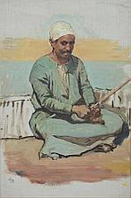 Anna Richards Brewster (American, 1870-1952), oil on board, Seated Egyptian Man, initialed lower left, 12 3/4