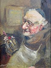 Henrie Pitcher (British, Early 20th Century), oil on board, Friar with Wine, signed and dated 1902 lower left, 8 1/2