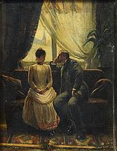 Jacques Doré (French, 1861-1929), oil on panel, Man and Woman in Sitting Room, signed lower right, 9 1/4