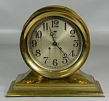 Chelsea Co Ship's Clock, Boston USA, on stepped brass base, dial 8
