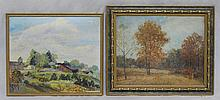 (2) 20th Century Farm Scenes: Spring Landscape, oil on board, signed F. Te Culver lower right,11 1/2
