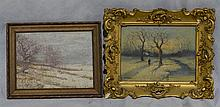 (2) Winter Landscapes: William Henry Hyde, oil on board,  signed lower right, 8 3/4