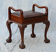 Chippendale-Style Lift Lid Bench with Leather Upholstery, carved knees and ball and claw feet, 24