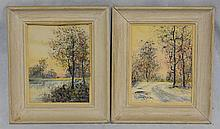 (2) Raphael Senseman (American, 1870-1965), watercolor, Spring and Winter Landscapes, each signed, 9