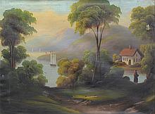 In the Manner of Thomas Chambers (American, 19th Century), oil on canvas, Lake and Lake Landscape with Figure, 23 1/2