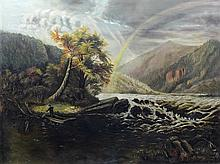 American School (19th Century), oil on canvas, River Landscape with Rainbow and Figure, 35 1/2