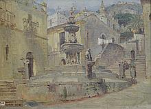 Anna Richards Brewster (American, 1870-1952), oil on board, Taormina, Sicily, 8 1/2