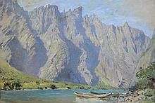 Anna Richards Brewster (American, 1870-1952), oil on canvas, Mountains in Norway, 8 1/2
