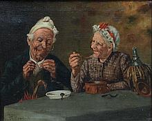 Harry Roseland (American, 1866-1950), oil on canvas, Elderly Couple at Table, signed lower left, 15 1/2