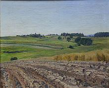 Frederick Wagner (American, PA, 1864-1940), oil on canvas, Fields, signed and dated 1919 lower right, 18 1/2