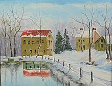 Clifford Strohl (American, PA, b 1893), oil on board, Houses in the Snow, signed and dated '55 lower right, 15 1/2