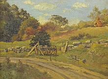 American School (19th Century), oil on board, Landscape with Road and Cart, 8 1/2
