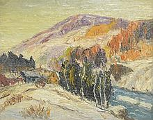 American School (20th Century), oil on board, Mountain Landscape with Farm, 7 5/8
