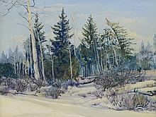 American School (20th Century), oil on masonite, Winter Woods, 8 1/2