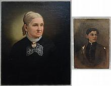 (2) American School, 19th Century Portraits: Portrait of Woman with Cameo, oil on canvas, 29