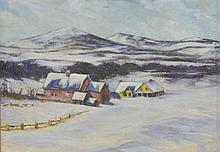 Attributed to Frank Wagner (American, 1954-1940), oil on board, Winter Landscape with Houses, initialed lower left, 9 1/2