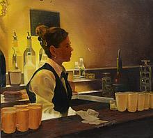 American School (Late 20th Century), oil on canvas, Lady Bartender, 18