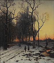 Schultze (Continental School, 19th Century), oil on canvas, Snowy Scene with Figures, signed lower right, 13 3/4