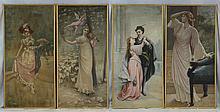 Continental School, 19th/20th C, Four Figural Dramatic Scene Panels, 63