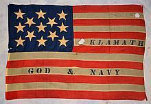 Naval Ensign Flag of USS Klamath, Civil War Era Monitor, 13 Stars, reads