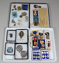 Memorabilia Lot, to include: 2 US Recruiter badges, Fort Dix Drill Sergeant Badge, WWII USMC hat pin, Exeter Grange medal, with orig...