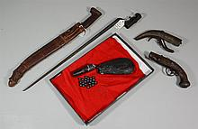 Military Lot, to include: 19th Century shot and pouch, trap door bayonet, small pistol with ram rod, and 2 other pieces