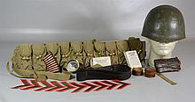 Military Lot, to include: WWI helmet, brass boxed compass, 2 decks of cards,