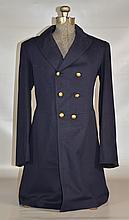 Dark Blue Military Long Coat, no labels, approx. 36
