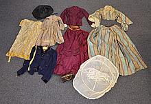 8 Pieces Civil War-Era Clothing, all in as is condition, to include: matching plaid skirt and jacket, velvet embroidered jacket, chi...