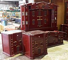 Huge unusual 3-piece bedroom set, brick red with gilt highlights, covered in little windows, bed 76-3/4