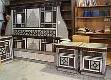 Middle Eastern inspired mother-of-pearl inlaid double bed & 2 nightstands, headboard 72