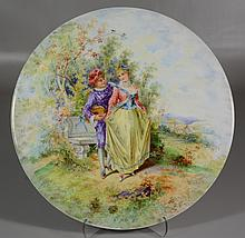 Handpainted porcelain plaque, young man courting lady love, 19th C, 11-3/4
