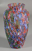 Millefiori art glass vase, 9-1/4