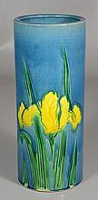 Japanese vase with yellow iris on blue ground, 9-1/2