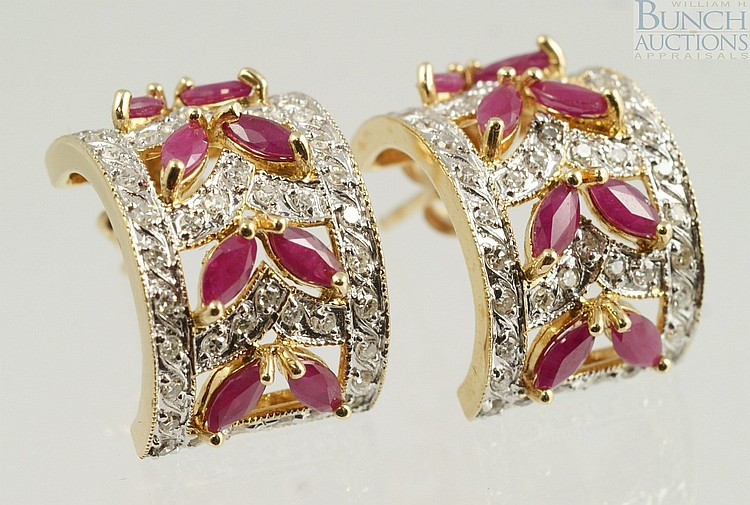 Pr 14K YG spinel and diamond earrings, 3.0 dwt
