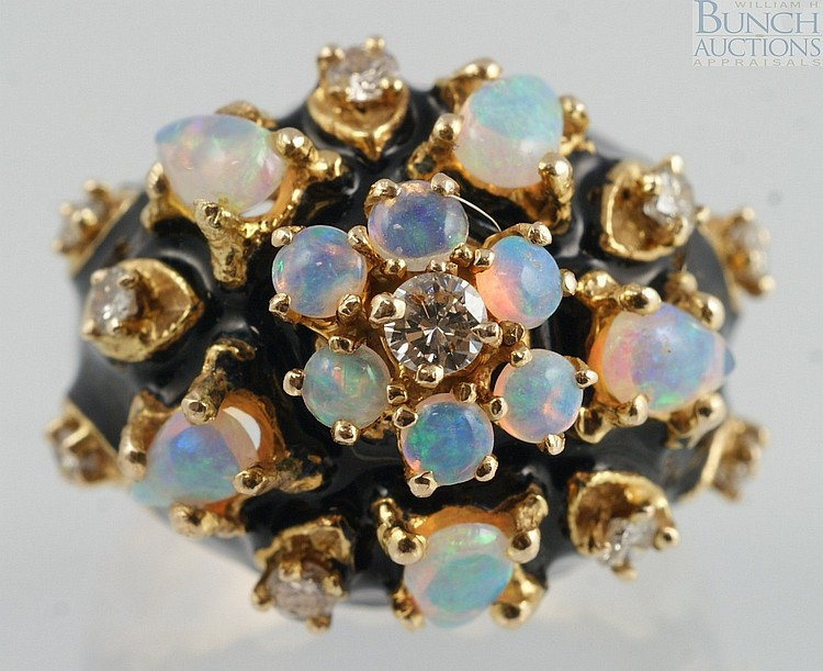 14K YG ladies ring with 10 opals and 10 diamonds, black enamel accents, size 6 1/2, 8.8 dwt