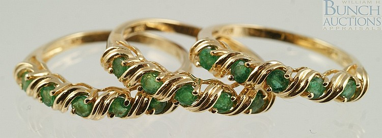 (3) 14K YG ladies rings with green stones, perhaps tourmaline, size 6, 3.6 dwt