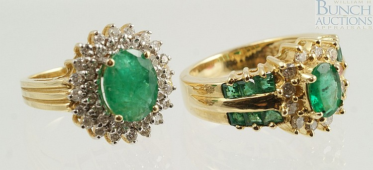 (2) 14K YG emerald and diamond rings, one w/10 x 6 mm emerald, about 37 small diamonds, 1-2 pt ea, the other 1 oval and 12 baguette ...