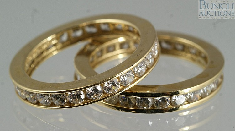 (2) 14K YG eternity bands set with CZ, size 5, 3.4 dwt