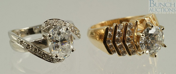 (2) 14K YG & WG ladies rings, set with CZ, size 5, 6.7 dwt