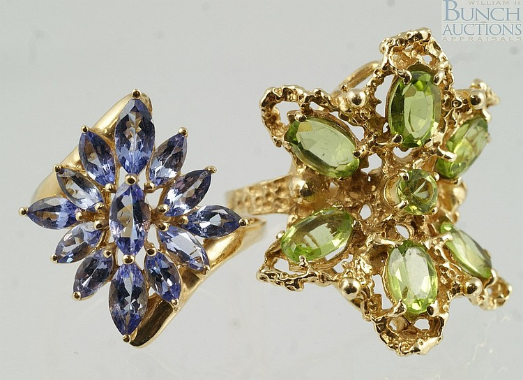 (2) 14K YG flower top ladies rings, pale green (peridot?), and pale blue, (iolite?), size 5, 6.9 dwt