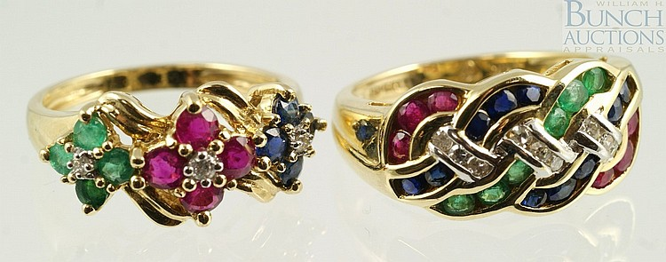 (2) 14K YG ladies rings with green, red, blue stones and diamonds, all small stones, size 6, 5.0 dwt