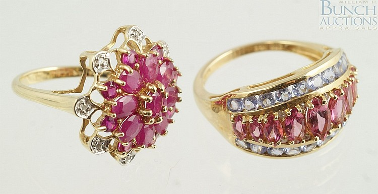 (2) 14K YG ladies rings, one with ruby flower top with small diamonds, size 5 1/4, the other with pink tourmaline, size 7, 5.3 dwt