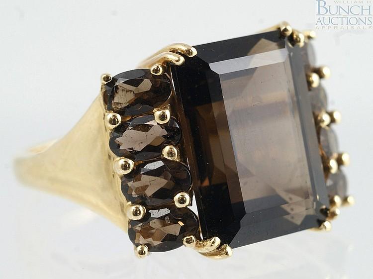 14K YG emerald cut smoky quartz ladies ring, 14 x 10mm stone, 8 oval side stones, size 6, 3