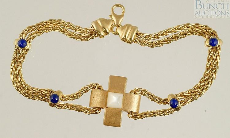18K YG bracelet, sapphires, Italy, 7