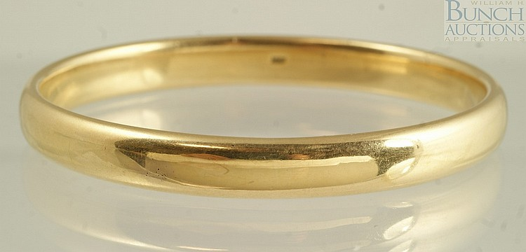 14K YG solid bangle, 2 1/2
