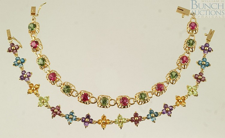 (2) 14K YG bracelets, set with tourmaline, garnet, amethyst, and other stones, 7