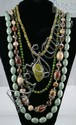 (4) jade +/or hardstone necklaces, longest 33